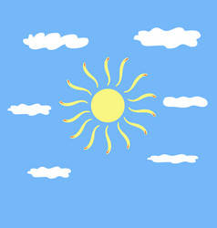 the sun and cloud sign on blue background vector image