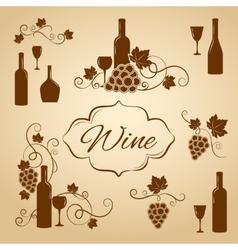 Vintage wine design elements for menu vector image