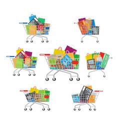 carts set seven full cartoon shopping trolleys vector image vector image