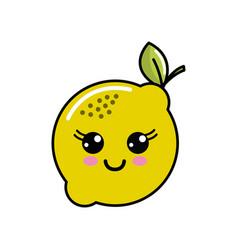 color kawaii happy lemon icon vector image vector image