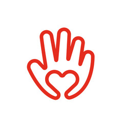 heart in hand line icon love and care concept vector image vector image