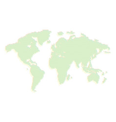 isolated green color worldmap of dots on white vector image vector image