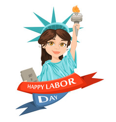 labor day greeting card with girl dressed in a vector image vector image