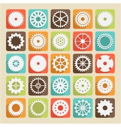 set of gear wheels vector image