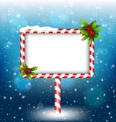 candy cane billboard with holly in snowfall vector image