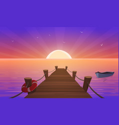 cartoon sunset at pier vector image vector image