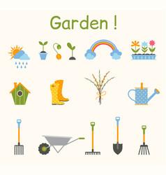 set of various gardening items garden tools vector image