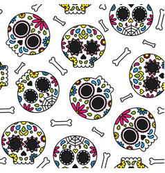 sugar skull day of the dead cute seamless pattern vector image vector image
