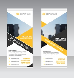 Yellow black Business Roll Up Banner flat design vector image