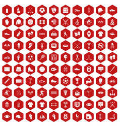 100 athlete icons hexagon red vector
