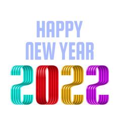 2022 happy new year ribbon font greeting card new vector image