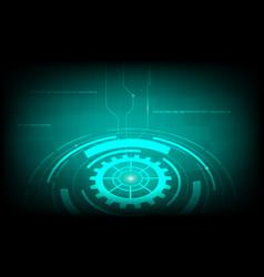 abstract green circle cog gear digital technology vector image