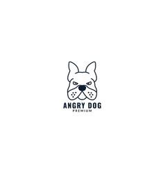 Angry face bulldog line logo design vector