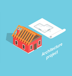 architecture project house template color banner vector image