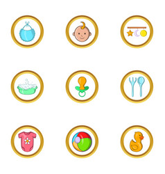 Baby life icon set cartoon style vector