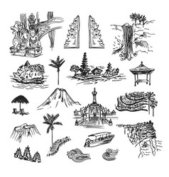Bali drawing elements vector