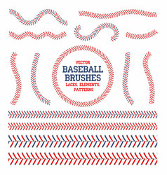 Baseball laces set seam brushes red vector