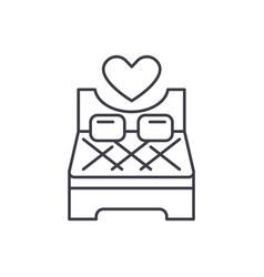 bed for lovers line icon concept bed for lovers vector image
