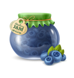 Blueberry jam in the glass jar vector