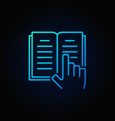 Book and hand blue icon vector
