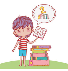 boy with books education and chat bubble vector image