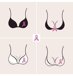 Breast Cancer October set Female bra Information vector image
