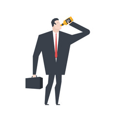 businessman drinks alcohol from bottle boss vector image