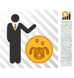 Businessman show puppycoin flat icon with bonus vector