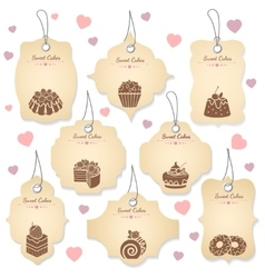 Cakes and desserts tag labels vector image