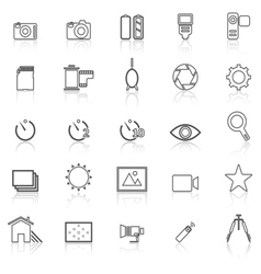 Camera line icons with reflect on white vector