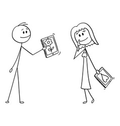 cartoon couple man and woman on date man si vector image