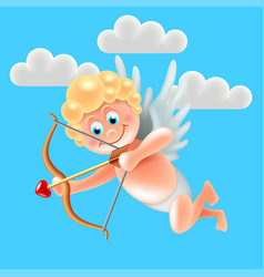 cartoon cute cupid angel in blue sky vector image
