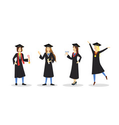 cartoon graduation of happy students girl set vector image