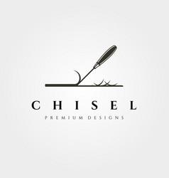 chisel logo symbol for woodwork carpentry design vector image