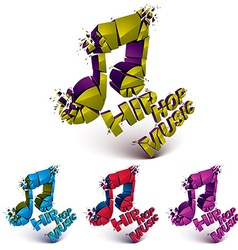 Colorful 3d shattered musical notes collection vector