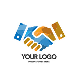 creative hand shaking colorful logo vector image