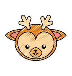 Cute scribble deer face cartoon vector