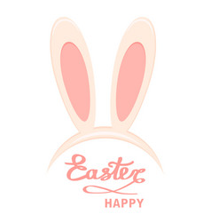 easter bunny ears head mask and happy easter vector image