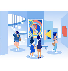 Exhibition visitors viewing paintings in gallery vector