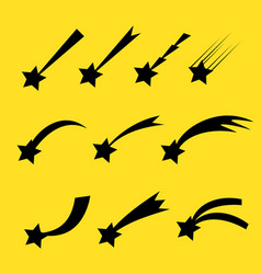 Falling stars set shooting stars isolated vector