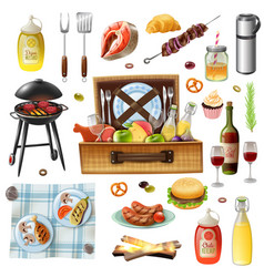 Family picnic barbecue realistic icons set vector