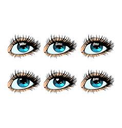 Female eye set glare in the pupil vector