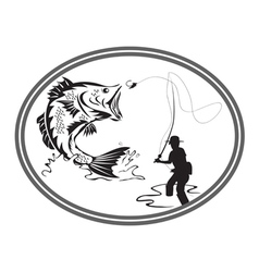 fishing bass emblem vector image