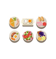 flat set plates with different dishes vector image