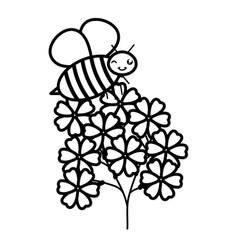 flowers garden with little bee flying kawaii vector image