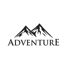 forest mountain adventure black and white vector image