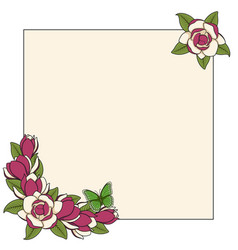 Frame with magnolia flowers and a butterfly vector