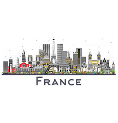 france skyline with gray buildings isolated on vector image