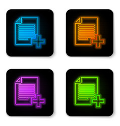 glowing neon add new file icon isolated on white vector image