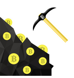 golden bitcoin symbol crypto currency mining with vector image